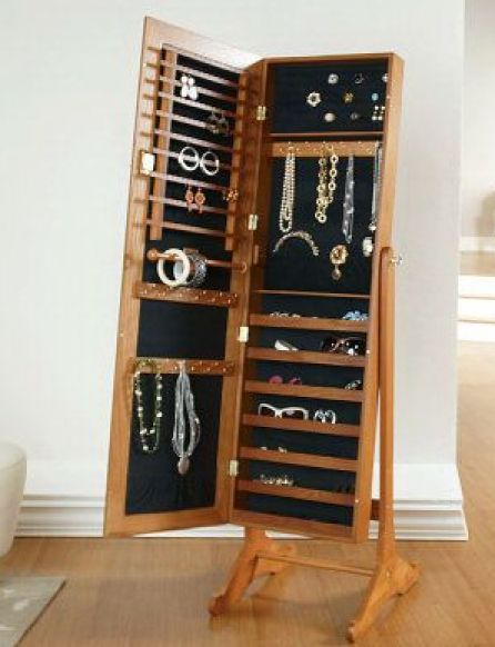 Silver Safekeeper Mirrored Jewelry Cabinet Armoire Lori Greiner