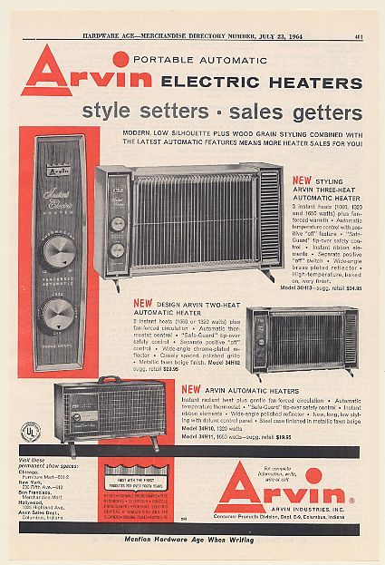 1964 Arvin Electric Heaters Portable Automatic Heater Trade Print Ad