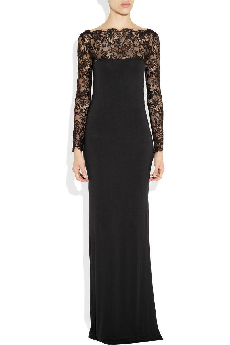 By Malene Birger Black Mawio Lace Paneled Jersey Maxi Dress Size XS s