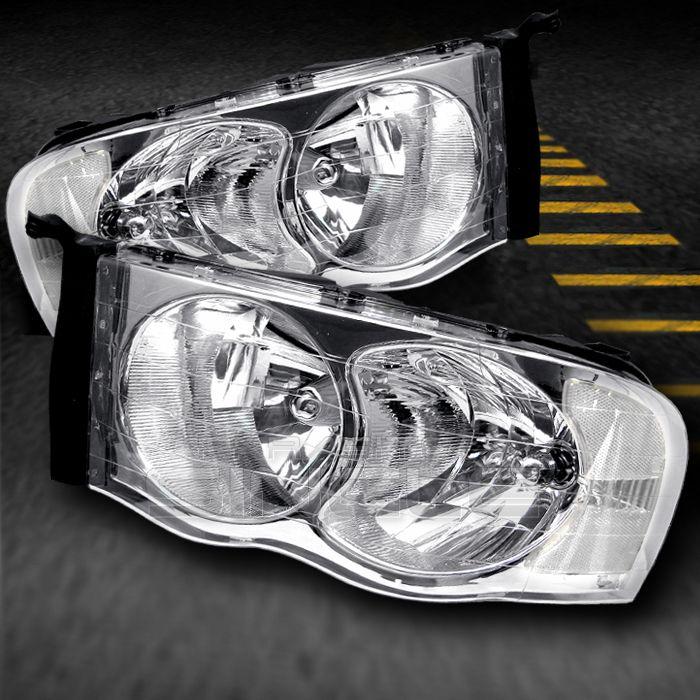 02 05 DODGE RAM PICKUP TRUCK CRYSTAL HEADLIGHTS LAMPS LIGHTS (LEFT