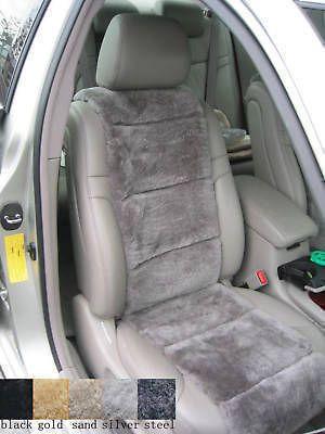 LUXURIOUS AUS Sheepskin STEEL GREY Insert Seat Cover A Pair