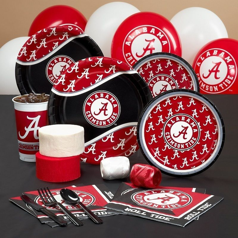 ALABAMA CRIMSON TIDE COLLEGE FOOTBALL PARTY PACK FOR 8 PARTY SUPPLIES