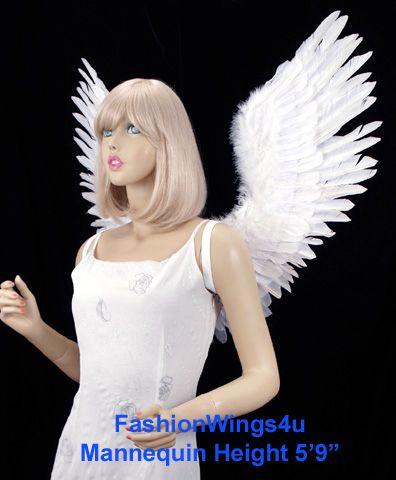 Open Swing White Feather Angel Wings Fairy Swan Bird Costume