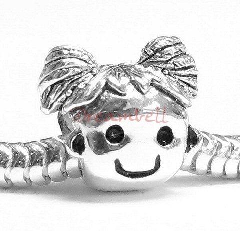 Sterling Silver Cute Baby Girl Kid European Bead Charm