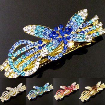 Shipping 1pc Rhinestone Crystal Dragonfly Hair Barrette Clip