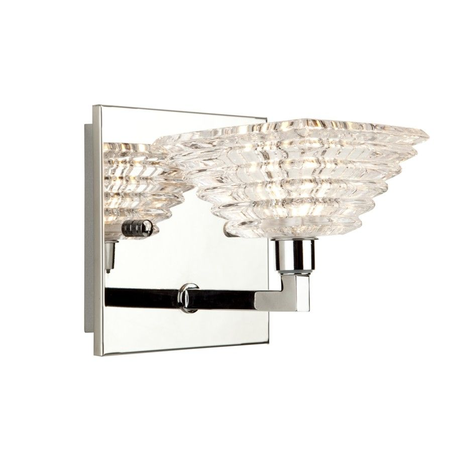 Artcraft 1 Light Bathroom Vanity Lighting Fixture Chrome Crystal Glass