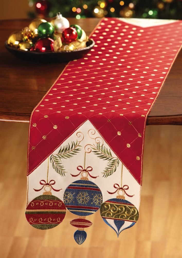 Ornament Embroidered Table Runner CHRISTMAS Home Decor Decoration