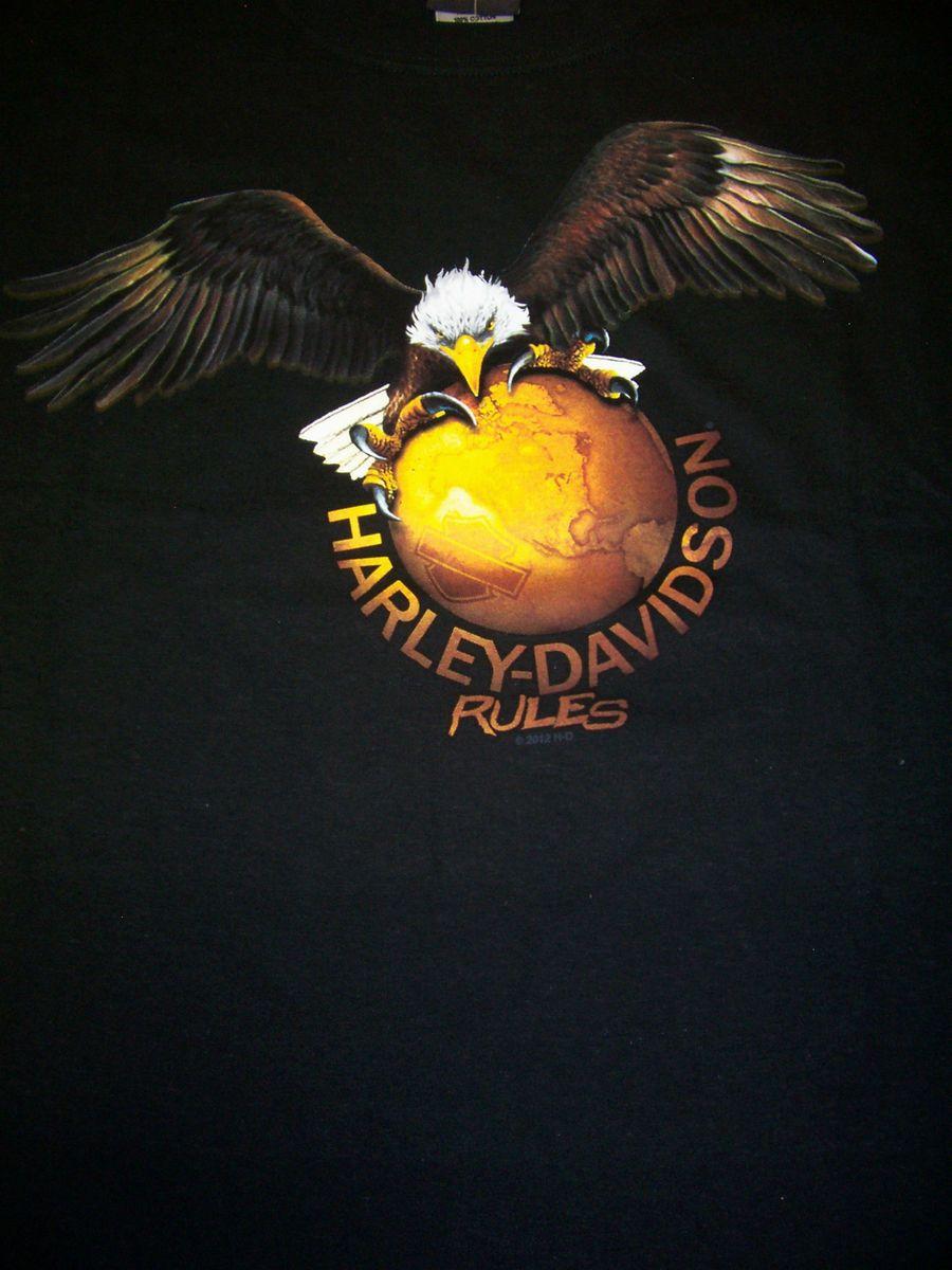 MENS HARLEY DAVIDSON BLACK EAGLE EARTH SHORT SLEEVE SIZE XLARGE NEW