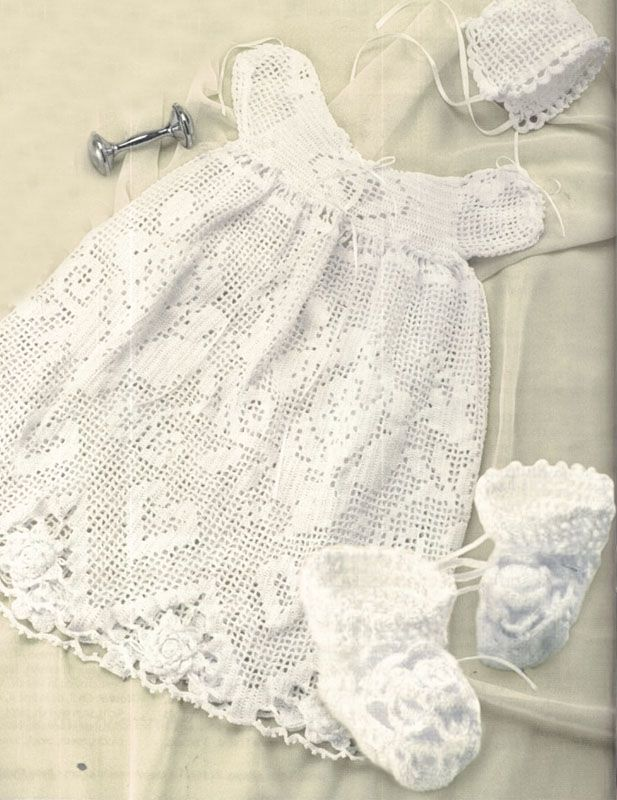 Baptism Baby Gown Dress Bonnet Booties Filet Crochet Pattern