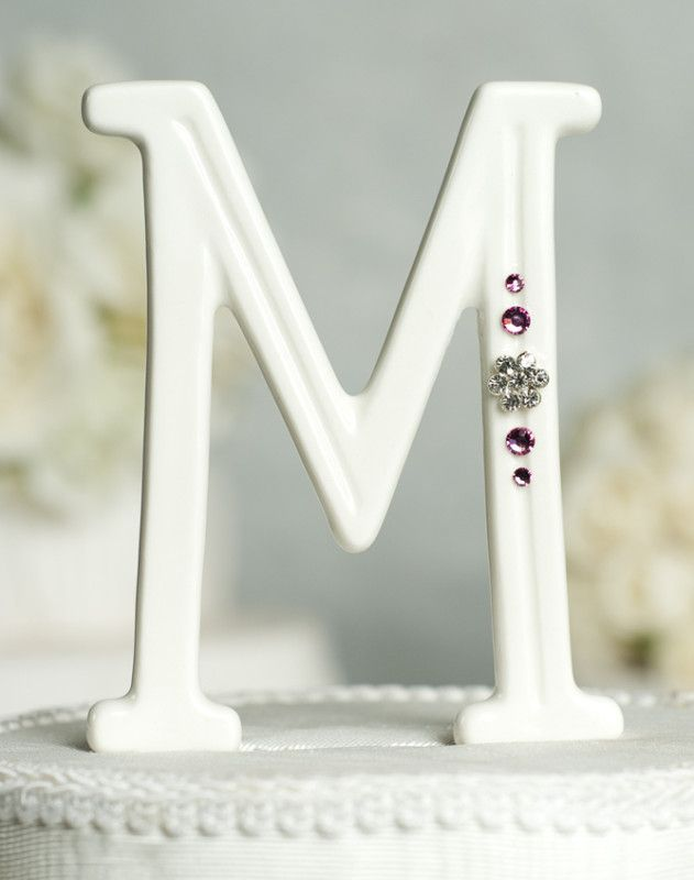 Porcelain Crystal Monogram Letter Wedding Cake Topper