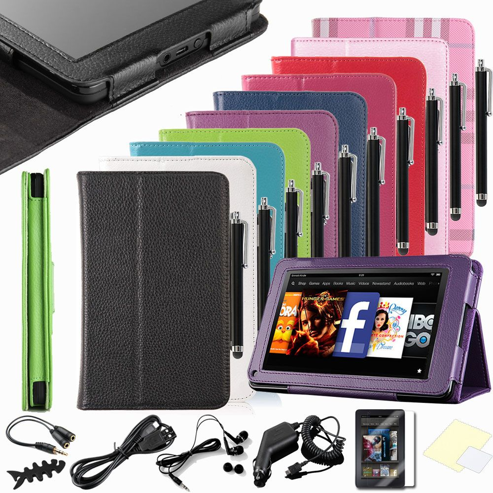 Kindle Fire PU Leather Folio Case Cover Car Charger USB Cable Stylus P