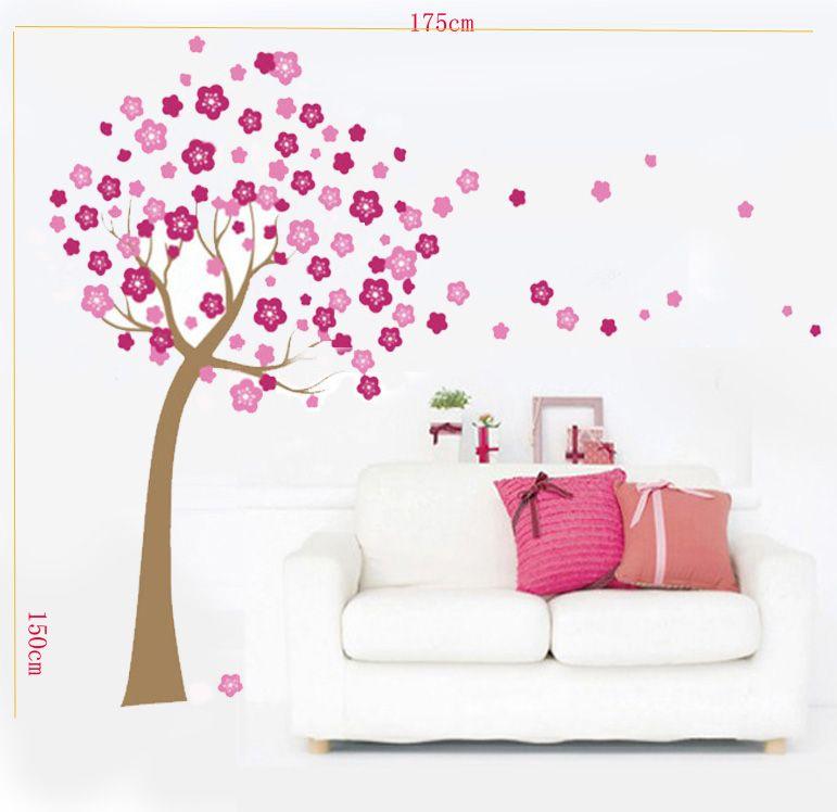 Huge Pink Cherry Blossom Flowers Tree Wall Stickers Art Mural Children