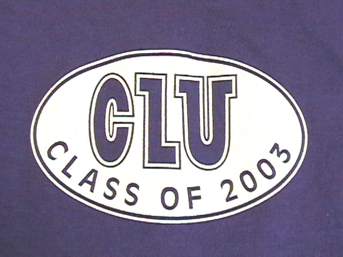 RARE CLU CLASS OF 2003 PURPLE T SHIRT CALIFORNIA LUTHERAN UNIVERSITY