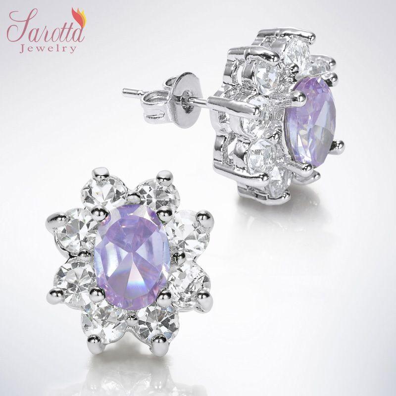 Fashion Jewelry Lady 1 Oval Cut Purple Tanzanite White Gold GP Stud