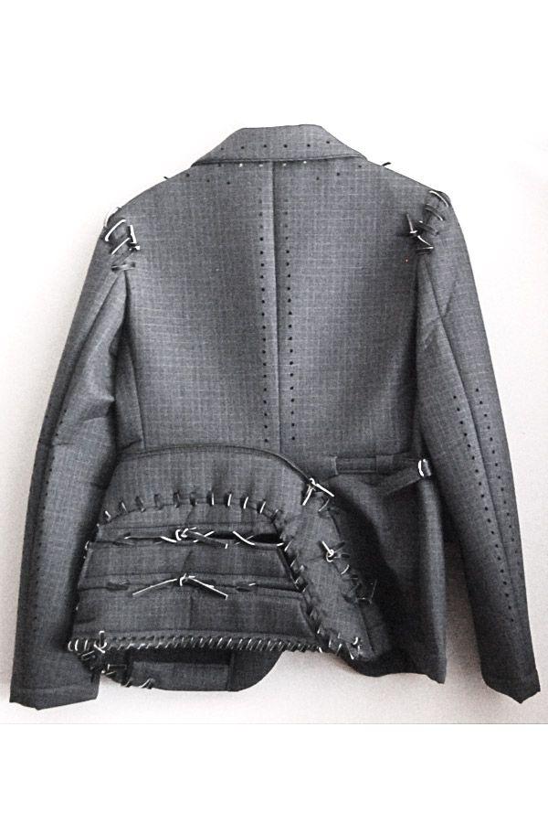 Comme Des Garcons SS2005 Runway Jacket Blazer Coat Leather Stitches Sz
