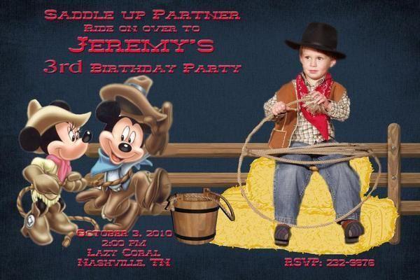 Mickey Minnie Mouse Cowboy Photo Birthday Invitation
