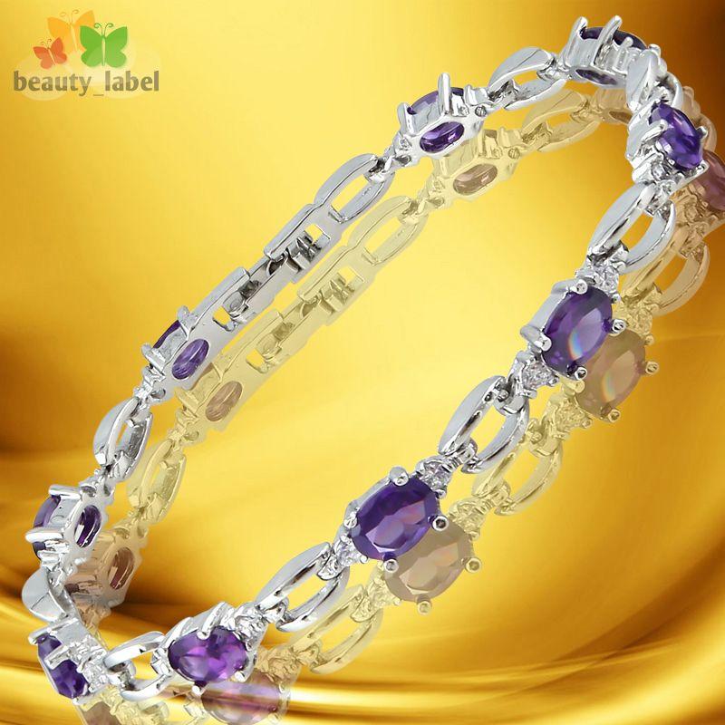 Fashion Lady Jewelry Purple Amethyst White Gold GP Tennis Bracelet