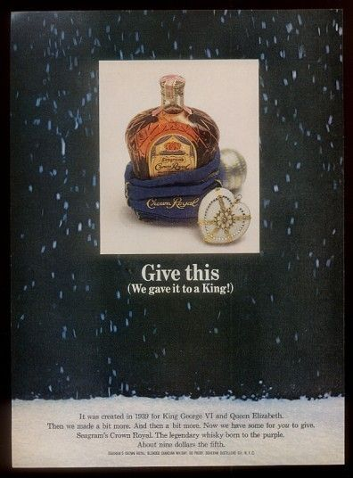 1964 Seagrams Crown Royal Canadian Whisky Bottle Photo Vintage Xmas