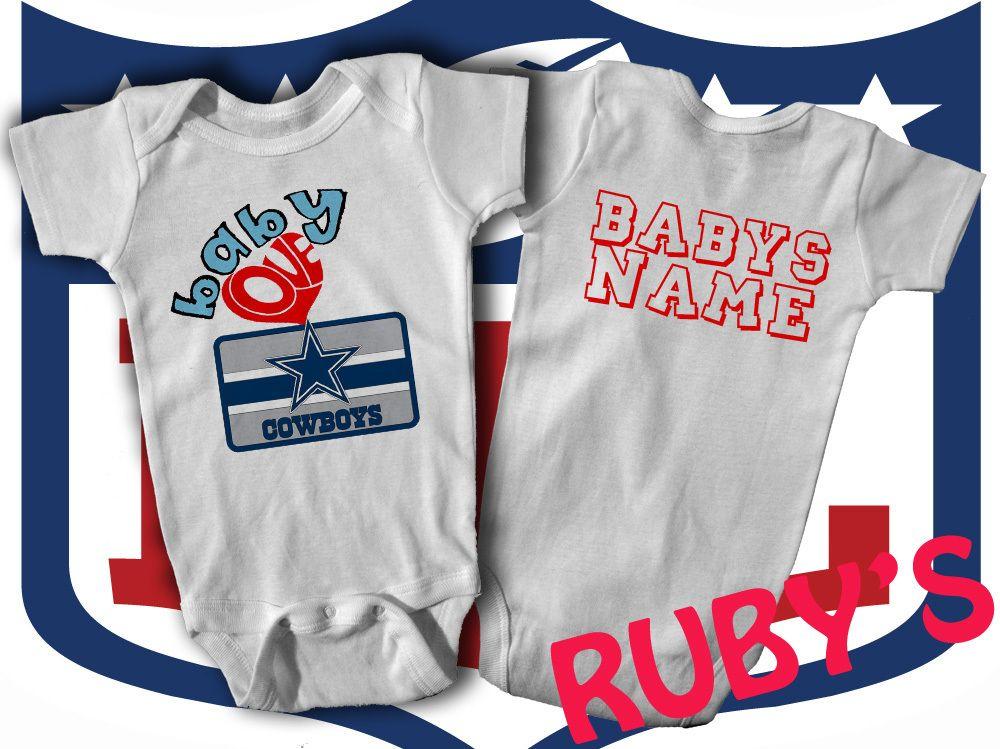 Dallas Cowboys Custom Onesie Jersey Romper Baby Loves Cowboys Add