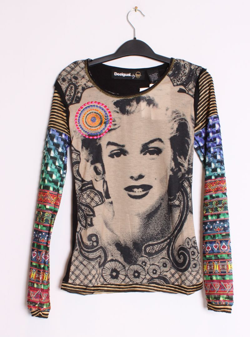 Desigual Womens TS Doblo Lacroix Marilyn Monroe Bold Graphic LS Tee