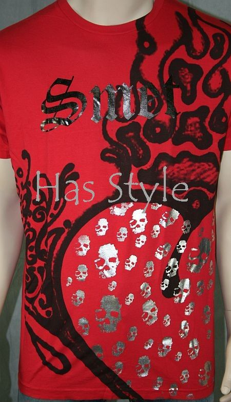 SMET Audigier Mens Red Skulled Heart T Shirt XXL