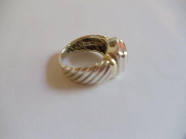 David Yurman Blue Topaz Sterling 14k Gold Ring Sz 5 75