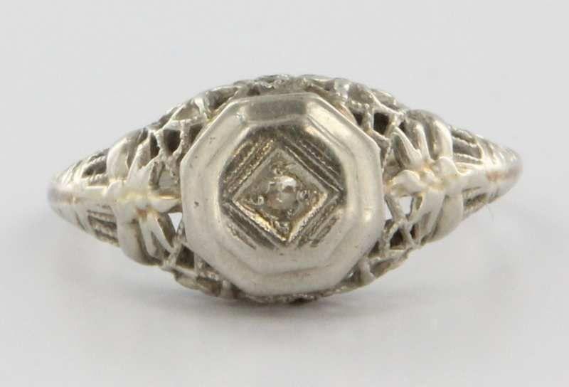 Antique Art Deco 14k White Gold Diamond Filigree Ring Fine Estate