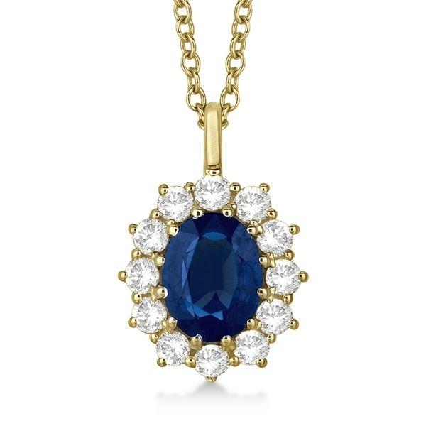 Oval Cut Blue Sapphire Diamond Pendant Necklace 14k Yellow Gold