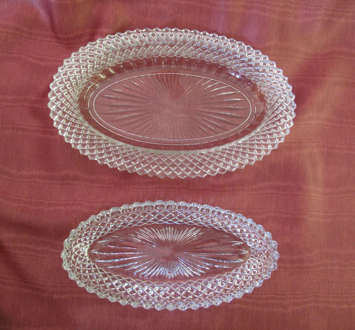 Vintage Elegant Glassware Diamond Point Oval Relish Bowl and Saucer
