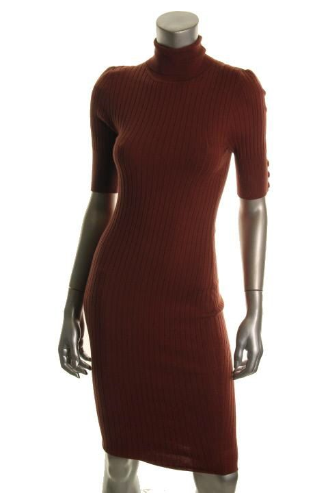 Famous Catalog New Brown Ribbed Short Sleeve Turtle Neck Sweaterdress