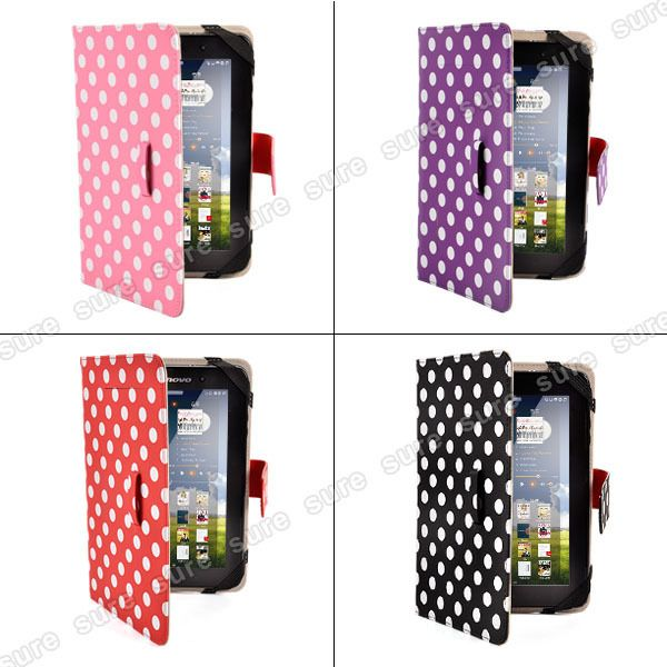 Polka Dot New 7 inch Folio Leather Case Cover for Kindle Fire HD New