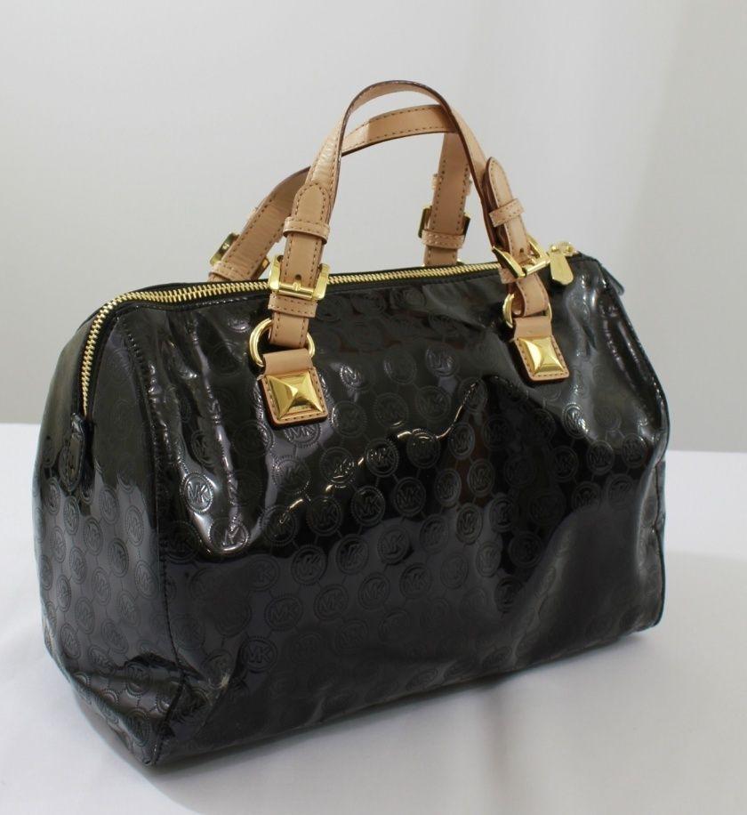 Michael Kors Black Womens Handbag Patent Leather Authentic Satchel