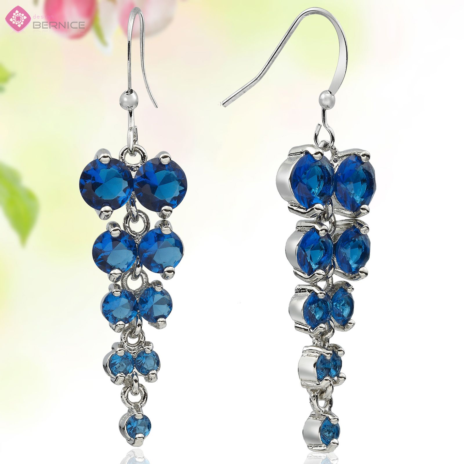 Jewelry Round Cut Blue Sapphire White Plated Long Dangle Drop Earrings