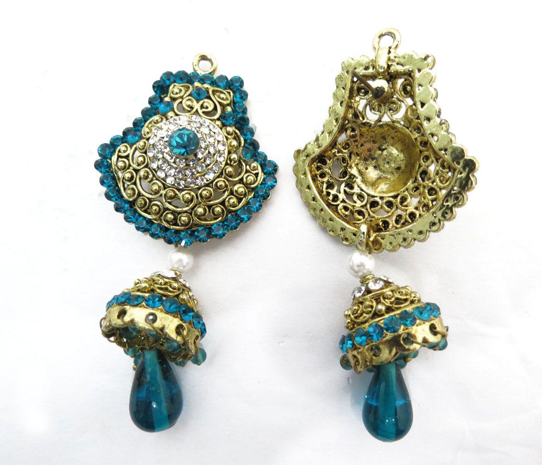 Indian Woman Wedding Turquoise Earring Set Gold Toen Bollywood Dangle