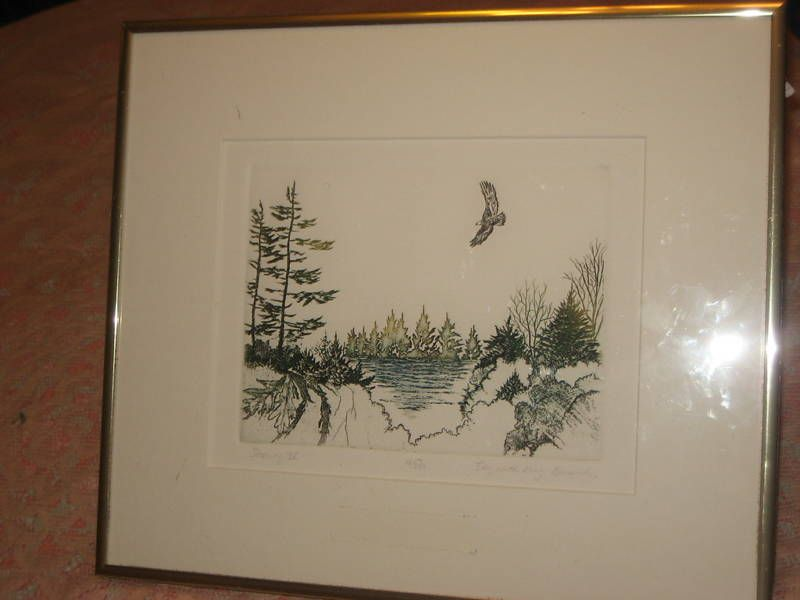 Elizabeth King Durand Signed D Embossed Lithograph