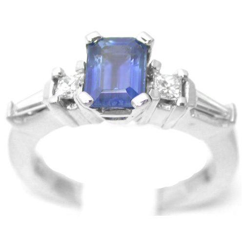 67 Carat Emerald Cut Blue Sapphire Engagement Ring