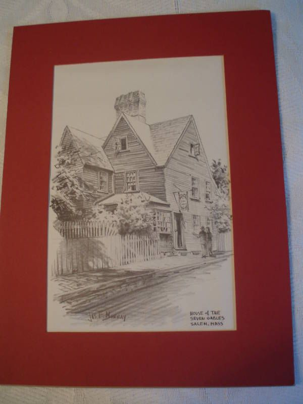 Jas F. Murray   House of Seven Gables   Pencil Drawing