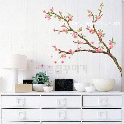Wall Paper Art Deco Mural Sticker Cherry Blossom A B