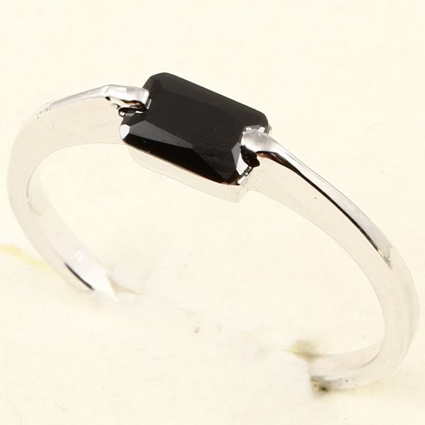 4x6mm Emerald Cut Black Sapphire 78 Ring