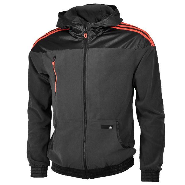 Adidas Performance Mens Polar Fleece Hoody Black Red Grey Size 3XL