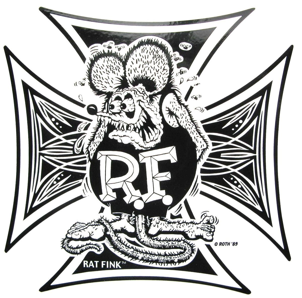 Rat Fink Iron Cross Decal Car Food Diner Hot Rat Rod Sticker Drag