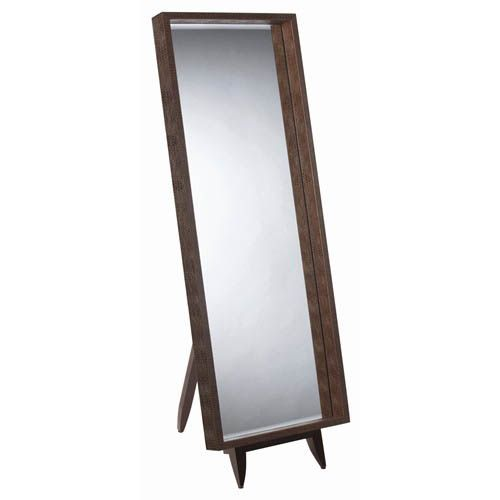 Brown Choc Leather Full Length Floor Mirror and Easel