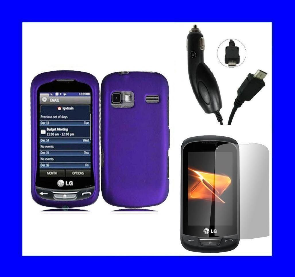 LG Freedom UN272 Screen Protector Car Charger Purple Snap on Case Hard