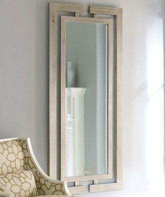 Silver Leaf Wall Mirror Modern Luxury Full Length Wood