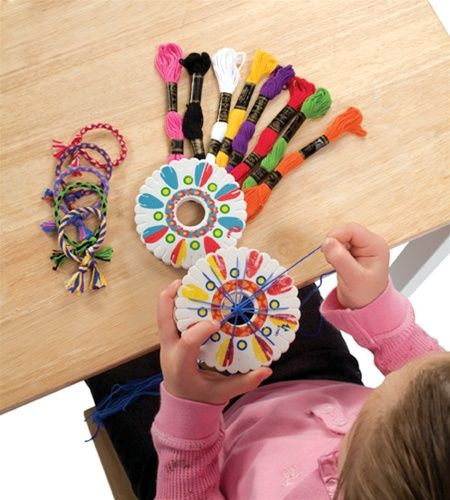 Friendship Bracelet Kit Set Activity 10 Skeins of Thread Wheel