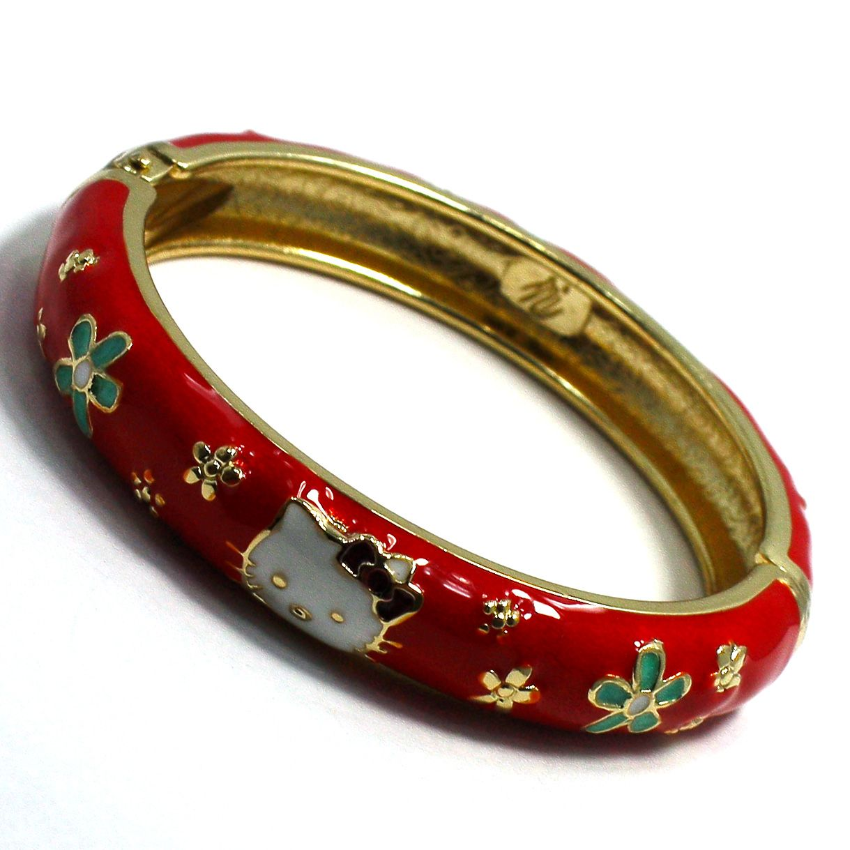 Gold 18K GF Bracelet Bangle Sz 4 Red Enamel Hello Kitty Girl Child