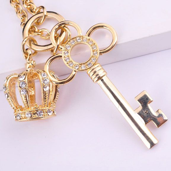 Fashion Gold Color Crown Key Pendant Necklace With Crystals Good For