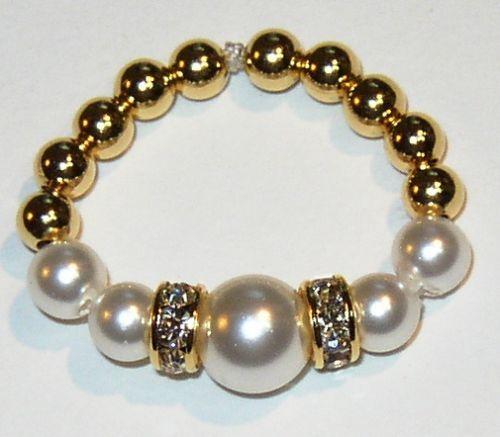 Swarovski Crystal Pearl Gold Toe Ring White Pink Gold