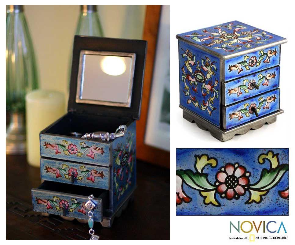 Celestial Reverse Painted Glass Jewelry Box Peru Art