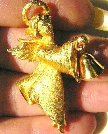 Vintage 14k Gold GP Celebration Bell Cherub Angel Pin Brooch